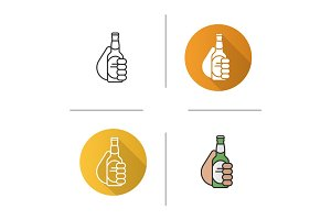 Hand with beer bottle icon