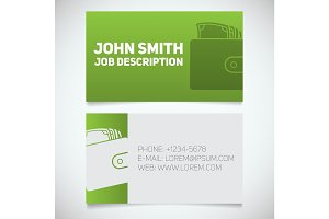 Business card print template with wallet full of cash logo