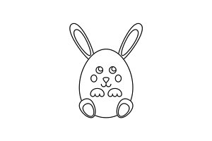 Rabbit in egg form line icon