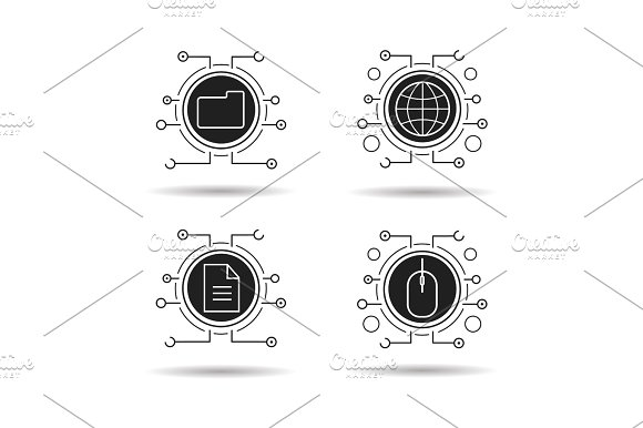 Cyber Technology Icons Set