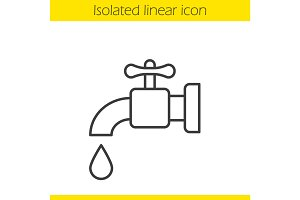 Water faucet linear icon