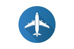 Plane flat design long shadow icon