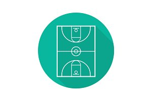 Basketball court flat linear long shadow icon
