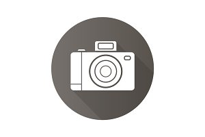 Photo camera flat design long shadow icon