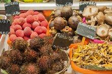 tropical fruits and mushrooms