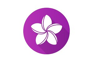 Spa salon plumeria flower. Flat design long shadow icon