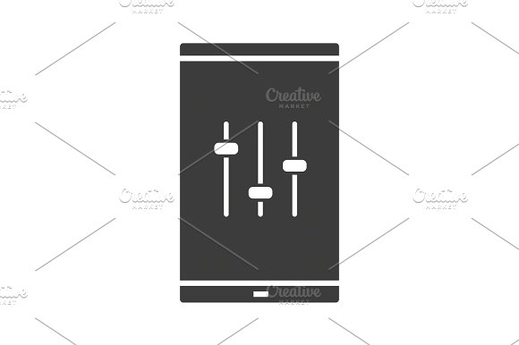 Smartphone Music Equalizer Glyph Icon