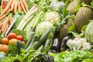 group of green vegetables and fruit