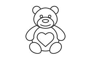 Teddy bear with heart shape linear icon