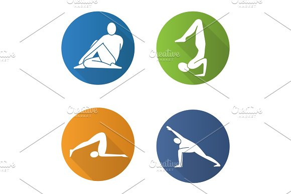 Yoga Asanas Flat Design Long Shadow Icons Set