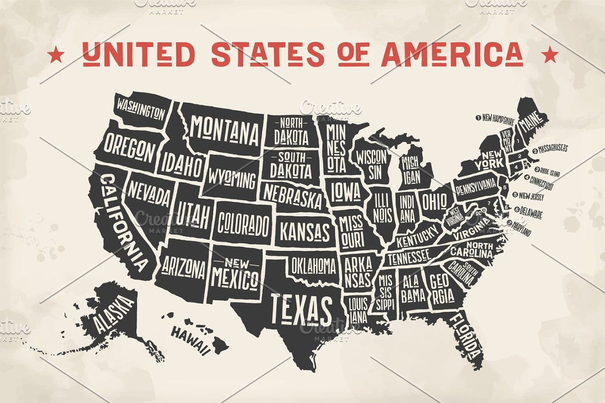 Poster map United States of America with state names ~ Illustrations ...