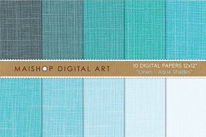 Digital paper-Linen-Aqua Shades