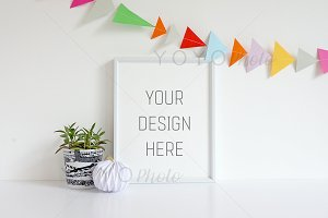 White Frame Mock Up - Bunting 8x10