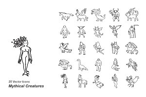 Mythical creatures outlines icons