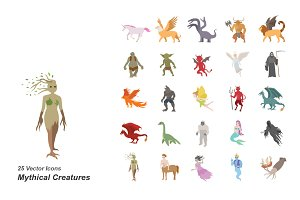 Mythical creatures color icons