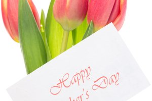 Pink and yellow tulips with happy mothers day greeting