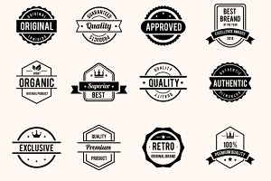 Black and White Retro Badges