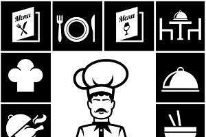 restaurant icons in white on black