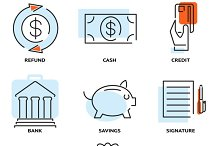 money and value flat line icons