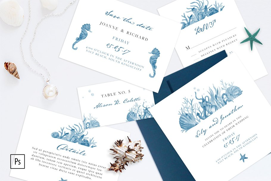 Nautical Wedding Invitations.Nautical Wedding Invitation Kit Wedding Templates Creative Market