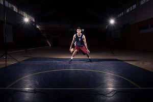 man basketball player court indoors