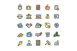 Banking and Accounting Icons Set