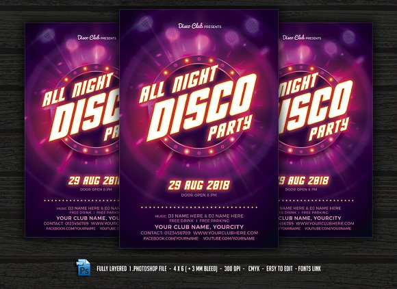 all night disco party flyer templates creative market
