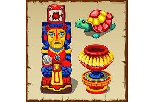 Mayan totem, turtle and vase