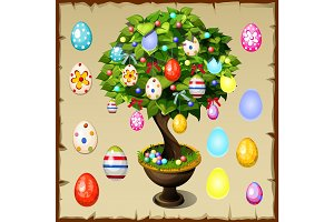 Bonsai decorated with colorful Easter eggs