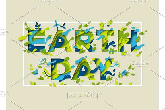 Happy Earth Day Typography Design With Frame