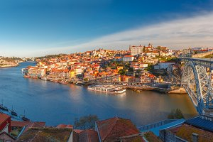 Old town and Douro river in Porto, Portugal.