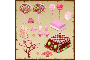 Big pink set of candies and sweets