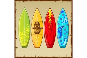 Four surfboards with different pattern