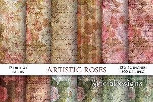 Burlap Vintage textures with roses1