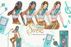 Sirens Watercolor Clipart
