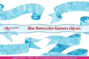 Blue Watercolor Banner clipart