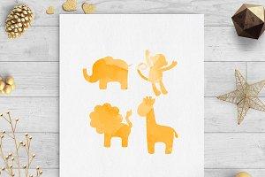 safari animals orange watercolor