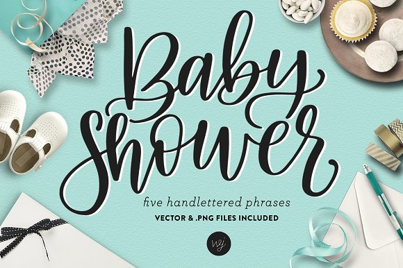 Hand Lettered Baby Shower Phrase Set