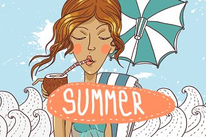 Summer girl with coconut cocktail