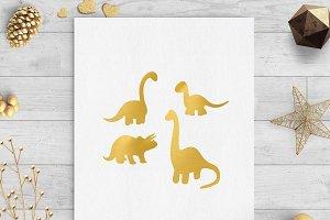 dinosaur gold foil clip art