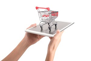 shopping cart and tablet