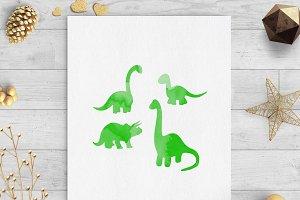 Dinosaur green watercolor clip art