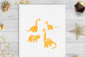 Dinosaurs watercolor clip art