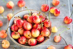 Ripe summer pink cherry