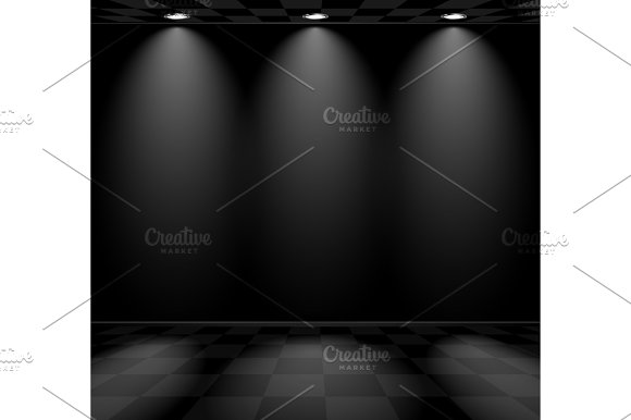 Black Empty Room With Checkered Floor