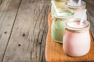 Small jars with smoothie