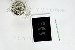 iPad Mockup White Desktop Flat Lay