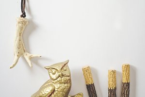 Gold Owl and Boho Pottery Antler