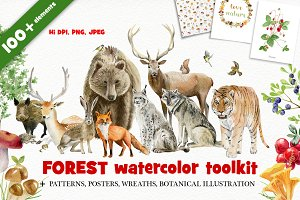 Forest watercolor designer toolkit