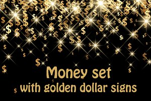 Money set with golden dollar signs